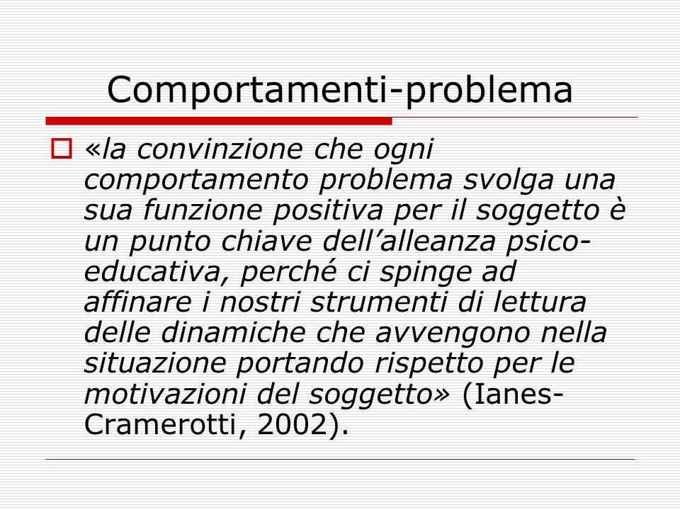 Comportamenti-problema  «la convinzione che ogni comportamento problema svolga una sua funzione positiva per il soggetto è un punto chiave dell'alleanza psico- educativa, perché ci spinge ad affinare i nostri strumenti di lettura delle dinamiche che avvengono nella situazione portando rispetto per le motivazioni del soggetto» (Ianes- Cramerotti, 2002).