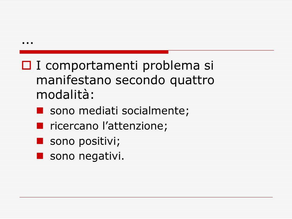 …  I comportamenti problema si manifestano secondo quattro modalità: sono mediati socialmente; ricercano l'attenzione; sono positivi; sono negativi.