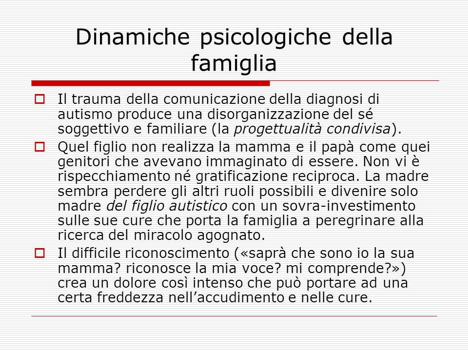 Dinamiche psicologiche della famiglia  Il trauma della comunicazione della diagnosi di autismo produce una disorganizzazione del sé soggettivo e fami