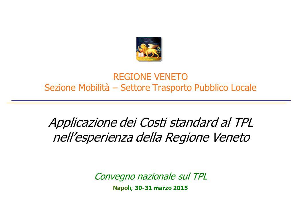 Napoli, 30-31 marzo 2015 REGIONE VENETO Sezione Mobilità – Settore Trasporto Pubblico Locale Applicazione dei Costi standard al TPL nell'esperienza della Regione Veneto Convegno nazionale sul TPL
