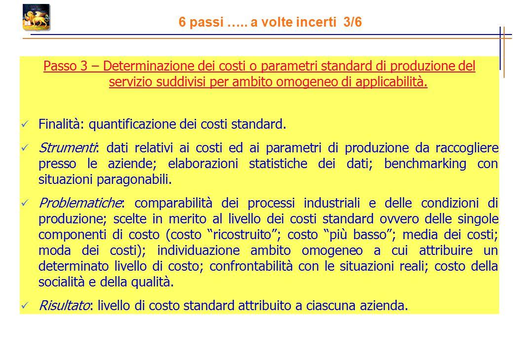 Passo 3 – Determinazione dei costi o parametri standard di produzione del servizio suddivisi per ambito omogeneo di applicabilità.