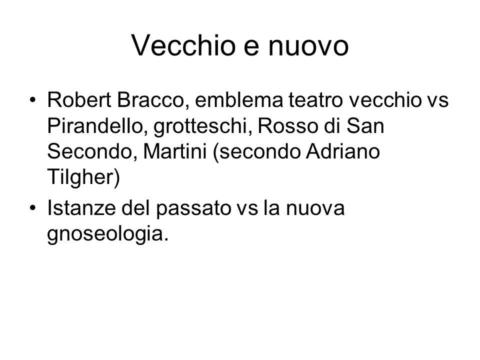 Vecchio e nuovo Robert Bracco, emblema teatro vecchio vs Pirandello, grotteschi, Rosso di San Secondo, Martini (secondo Adriano Tilgher) Istanze del passato vs la nuova gnoseologia.