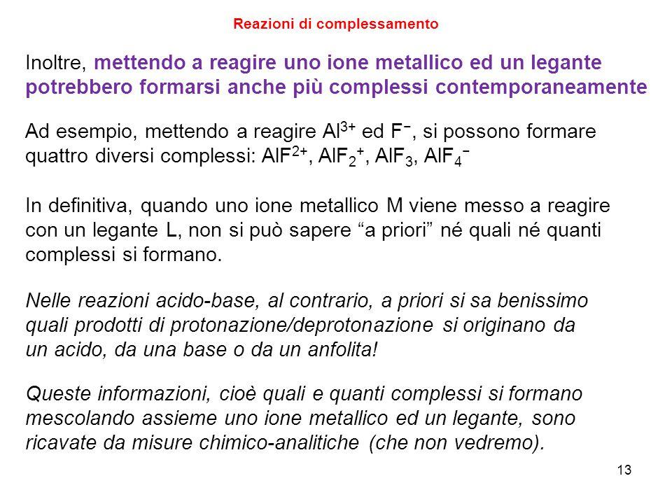 13 Reazioni di complessamento Inoltre, mettendo a reagire uno ione metallico ed un legante potrebbero formarsi anche più complessi contemporaneamente Ad esempio, mettendo a reagire Al 3+ ed F −, si possono formare quattro diversi complessi: AlF 2+, AlF 2 +, AlF 3, AlF 4 − Queste informazioni, cioè quali e quanti complessi si formano mescolando assieme uno ione metallico ed un legante, sono ricavate da misure chimico-analitiche (che non vedremo).