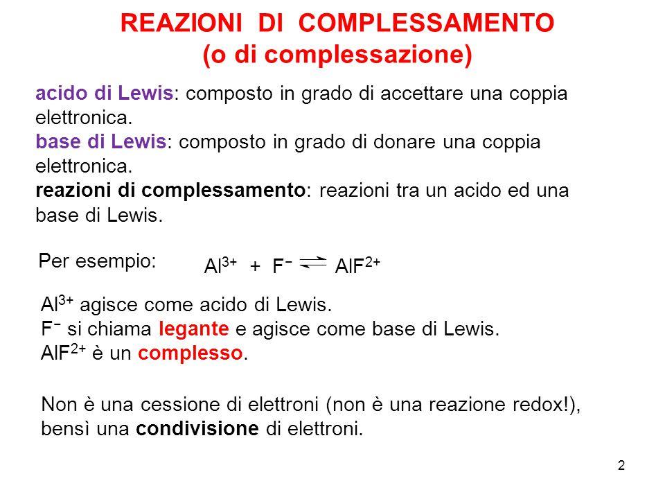 2 Al 3+ + F − AlF 2+ Per esempio: Al 3+ agisce come acido di Lewis.