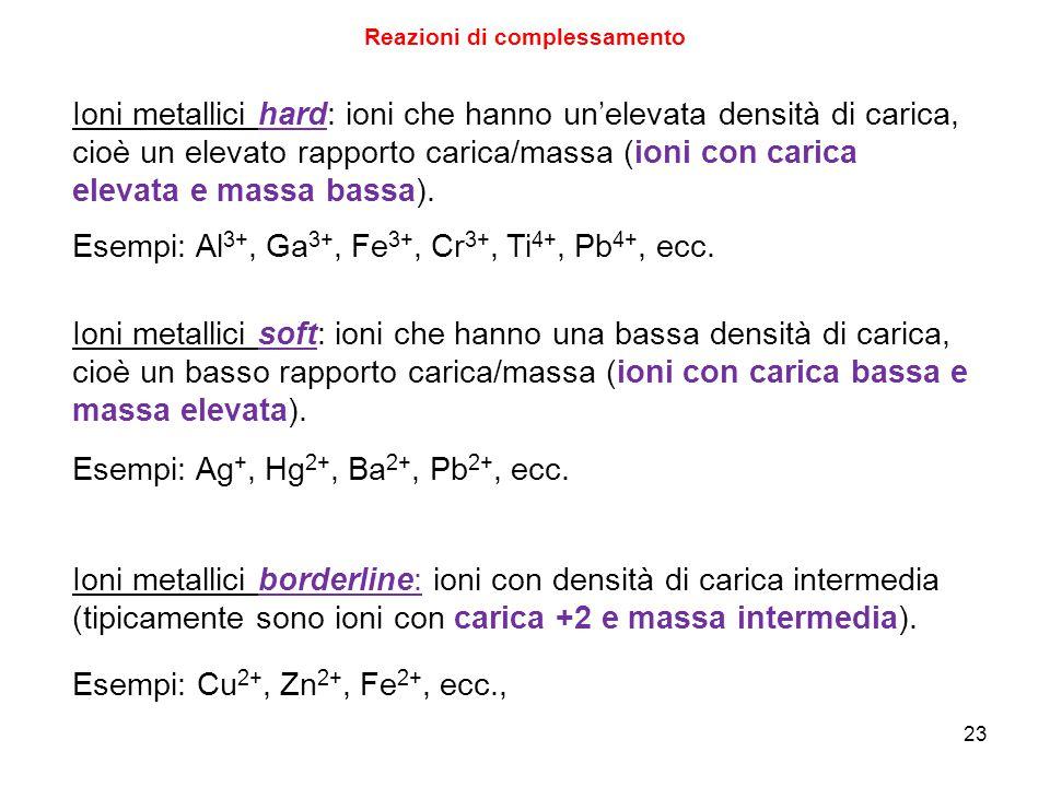 23 Reazioni di complessamento Ioni metallici hard: ioni che hanno un'elevata densità di carica, cioè un elevato rapporto carica/massa (ioni con carica elevata e massa bassa).