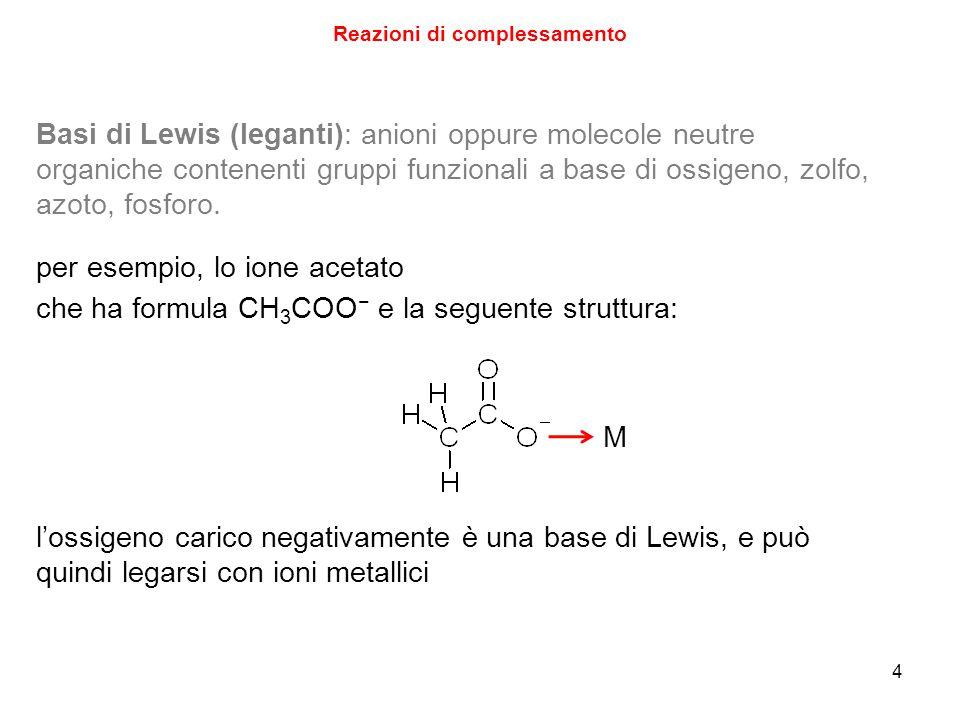 4 Reazioni di complessamento Basi di Lewis (leganti): anioni oppure molecole neutre organiche contenenti gruppi funzionali a base di ossigeno, zolfo, azoto, fosforo.
