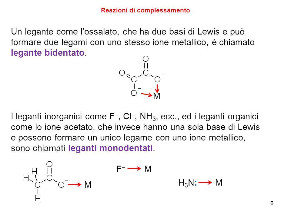 6 Reazioni di complessamento Un legante come l'ossalato, che ha due basi di Lewis e può formare due legami con uno stesso ione metallico, è chiamato legante bidentato.