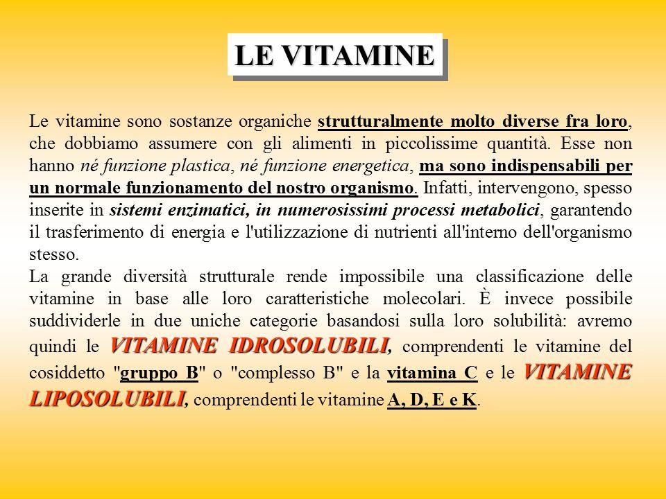 LE VITAMINE Le vitamine sono sostanze organiche strutturalmente molto diverse fra loro, che dobbiamo assumere con gli alimenti in piccolissime quantit