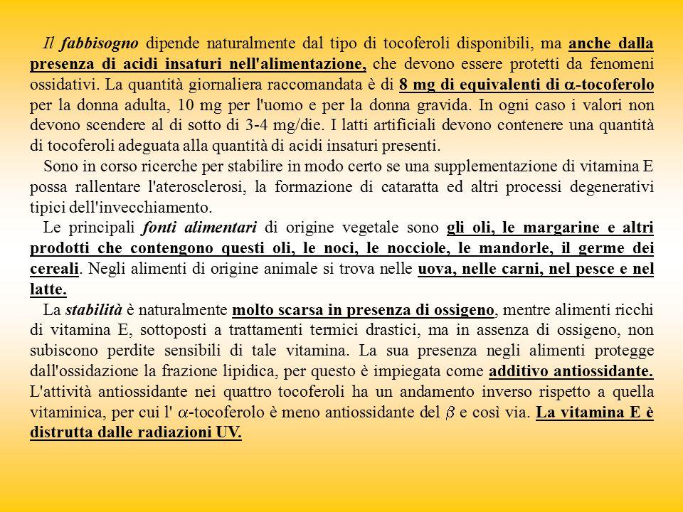 Il fabbisogno dipende naturalmente dal tipo di tocoferoli disponibili, ma anche dalla presenza di acidi insaturi nell'alimentazione, che devono essere