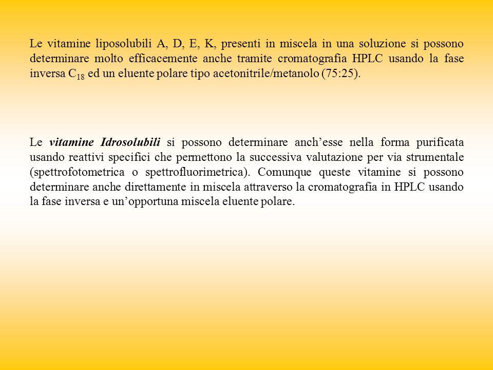 Le vitamine liposolubili A, D, E, K, presenti in miscela in una soluzione si possono determinare molto efficacemente anche tramite cromatografia HPLC