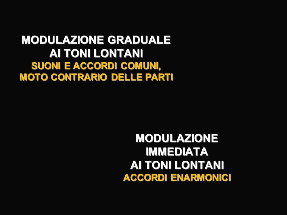 L'EVOLUZIONE DELLA TECNICA MODULANTE 1. MODULAZIONE MODALE (Medioevo e Rinascimento) 2.MODULAZIONE AI TONI VICINI (Barocco) 3.MODULAZIONE GRADUALE AI TONI LONTANI (Classicismo) 4.MODULAZIONE PER TERZE E AI TONI LONTANI (Romanticismo) 5. POLARIZZAZIONE TONALE IMPLICANTE TUTTI I TONI (Modernismo e '900 storico)