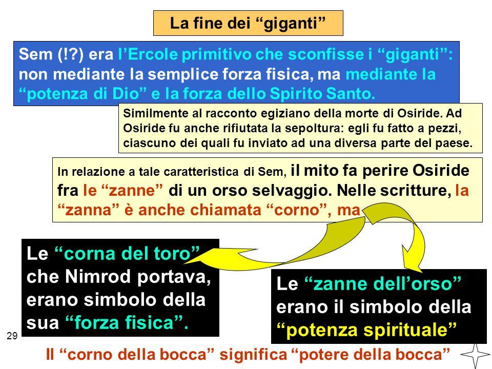 """Sem (!?) era l'Ercole primitivo che sconfisse i """"giganti"""": non mediante la semplice forza fisica, ma mediante la """"potenza di Dio"""" e la forza dello Spi"""