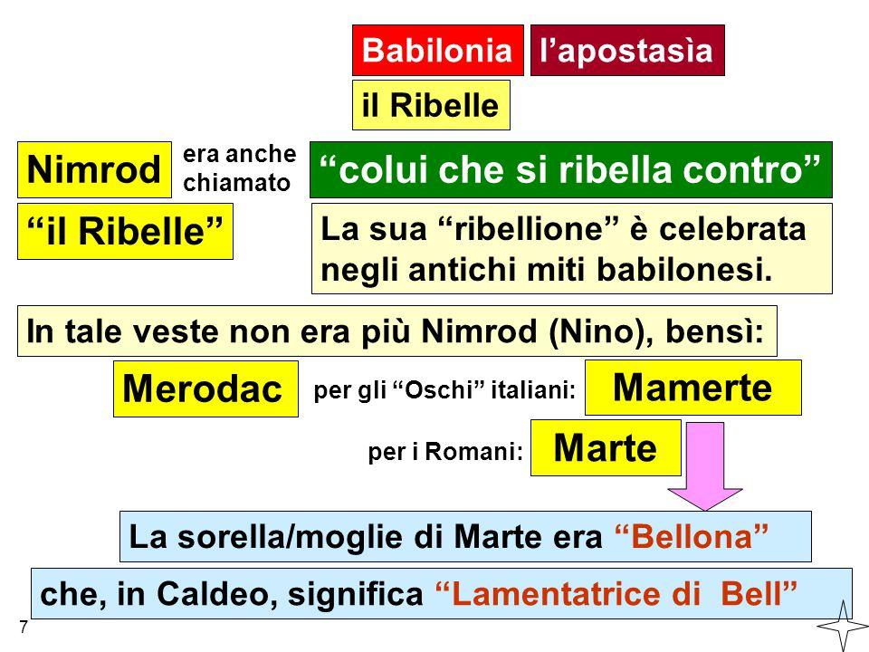 """Babilonia Nimrod""""colui che si ribella contro"""" era anche chiamato """"il Ribelle"""" La sua """"ribellione"""" è celebrata negli antichi miti babilonesi. In tale v"""
