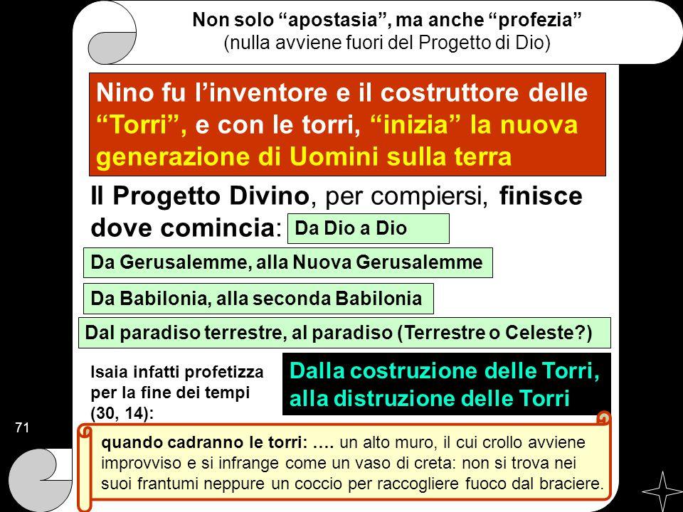 """Nino fu l'inventore e il costruttore delle """"Torri"""", e con le torri, """"inizia"""" la nuova generazione di Uomini sulla terra Non solo """"apostasia"""", ma anche"""