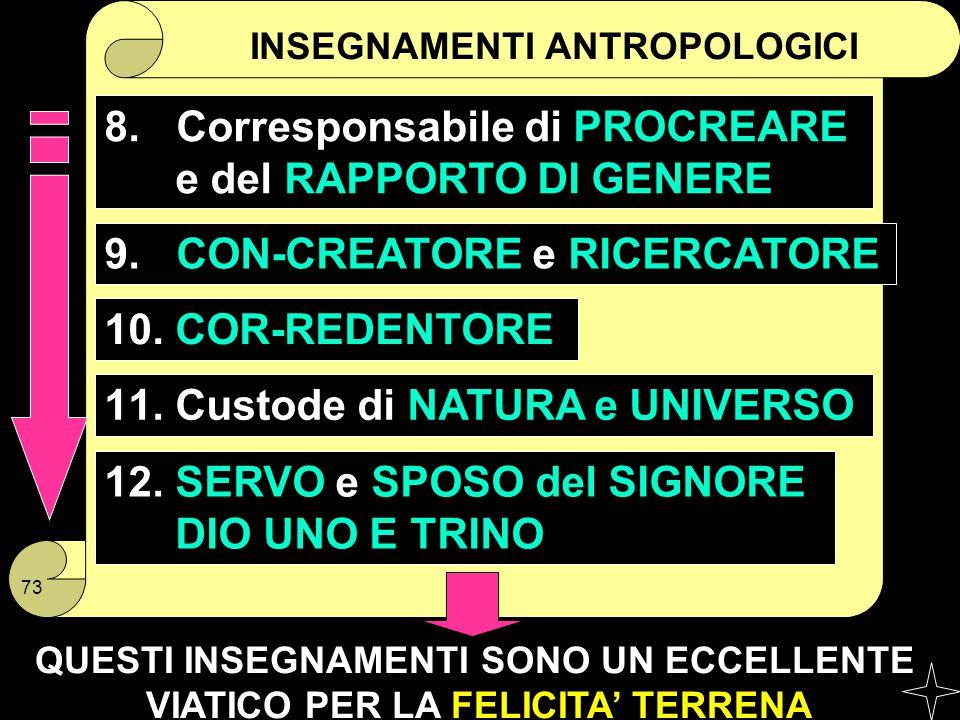 INSEGNAMENTI ANTROPOLOGICI 8. Corresponsabile di PROCREARE e del RAPPORTO DI GENERE 10. COR-REDENTORE 9. CON-CREATORE e RICERCATORE 11. Custode di NAT