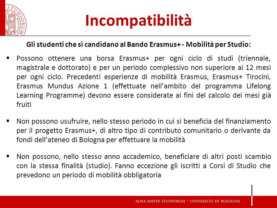 Incompatibilità Gli studenti che si candidano al Bando Erasmus+ - Mobilità per Studio:  Possono ottenere una borsa Erasmus+ per ogni ciclo di studi (triennale, magistrale e dottorato) e per un periodo complessivo non superiore ai 12 mesi per ogni ciclo.