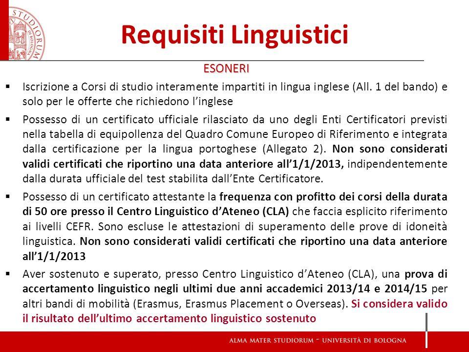 Requisiti Linguistici ESONERI  Iscrizione a Corsi di studio interamente impartiti in lingua inglese (All. 1 del bando) e solo per le offerte che rich