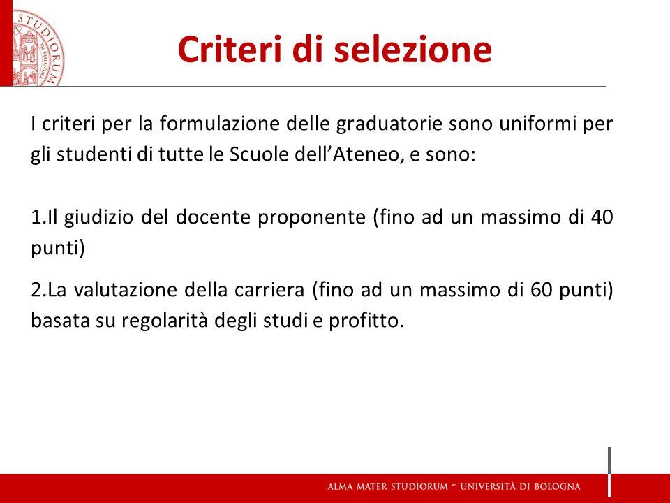 Criteri di selezione I criteri per la formulazione delle graduatorie sono uniformi per gli studenti di tutte le Scuole dell'Ateneo, e sono: 1.Il giudizio del docente proponente (fino ad un massimo di 40 punti) 2.La valutazione della carriera (fino ad un massimo di 60 punti) basata su regolarità degli studi e profitto.