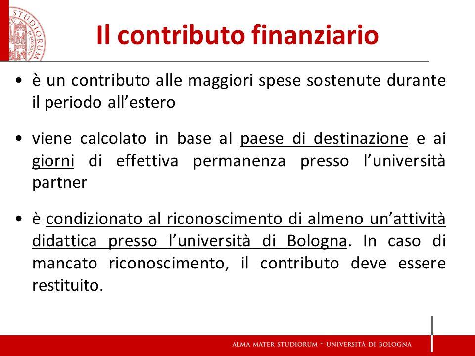 Il contributo finanziario è un contributo alle maggiori spese sostenute durante il periodo all'estero viene calcolato in base al paese di destinazione