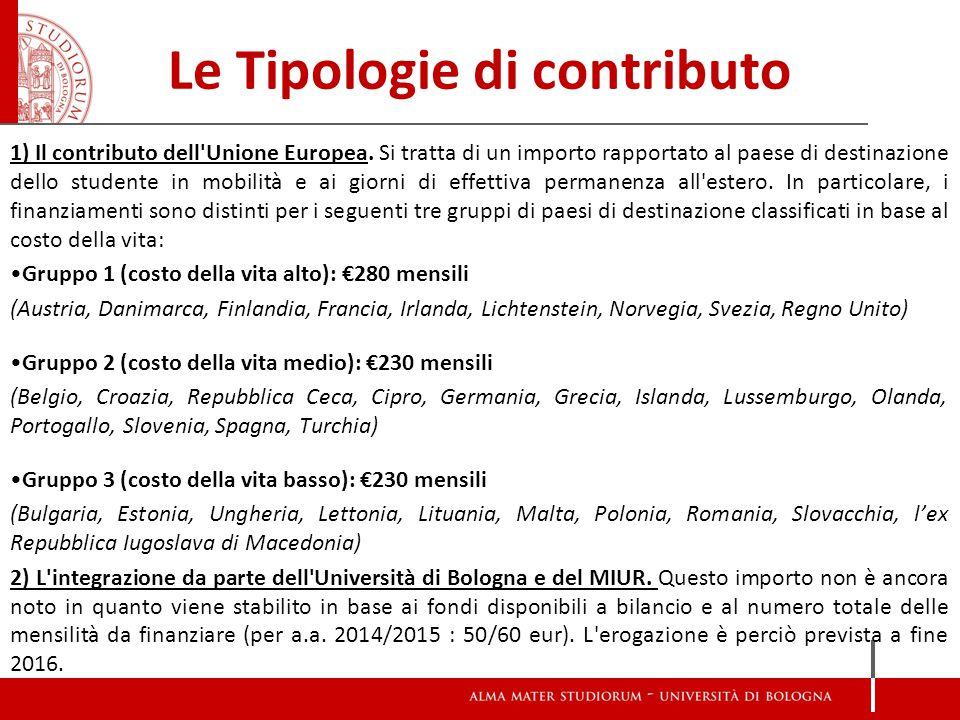 Le Tipologie di contributo 1) Il contributo dell'Unione Europea. Si tratta di un importo rapportato al paese di destinazione dello studente in mobilit
