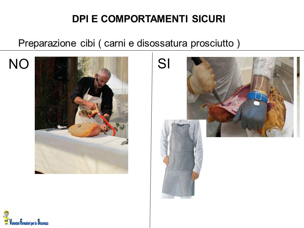 DPI E COMPORTAMENTI SICURI Preparazione cibi ( carni e disossatura prosciutto ) SI NO