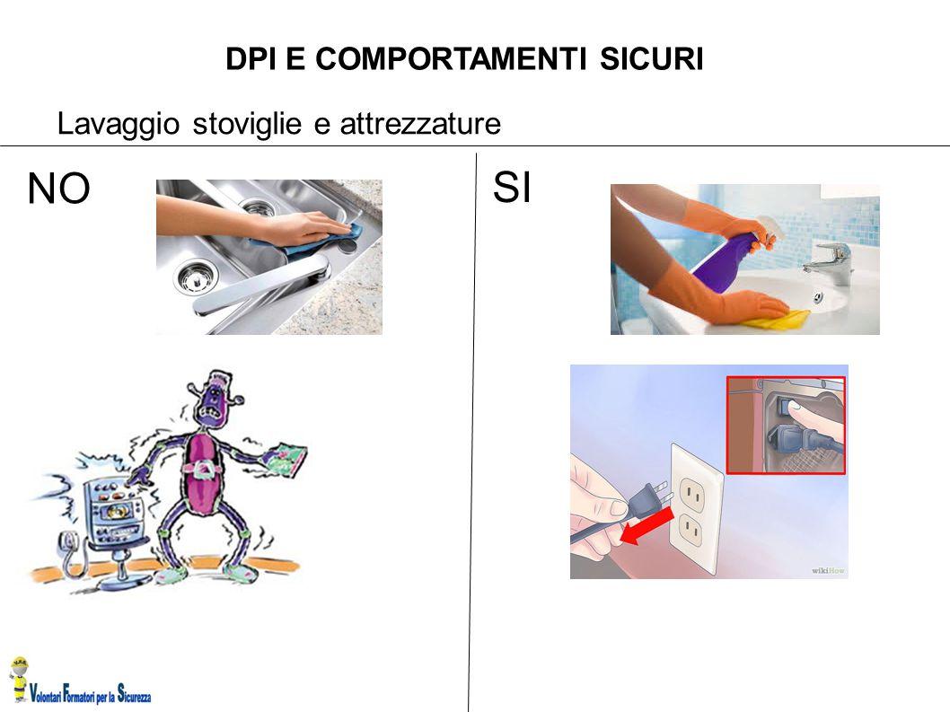 DPI E COMPORTAMENTI SICURI Lavaggio stoviglie e attrezzature SI NO
