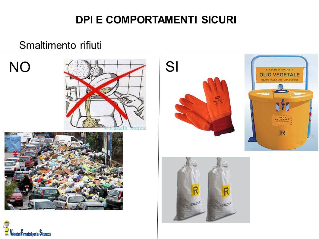 DPI E COMPORTAMENTI SICURI Smaltimento rifiuti SI NO