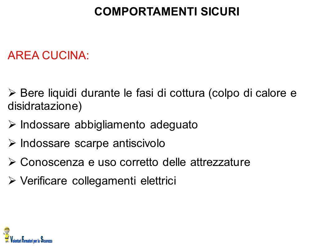 COMPORTAMENTI SICURI AREA CUCINA:  Bere liquidi durante le fasi di cottura (colpo di calore e disidratazione)  Indossare abbigliamento adeguato  In