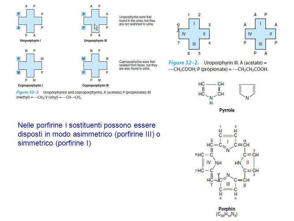 Nelle porfirine i sostituenti possono essere disposti in modo asimmetrico (porfirine III) o simmetrico (porfirine I)