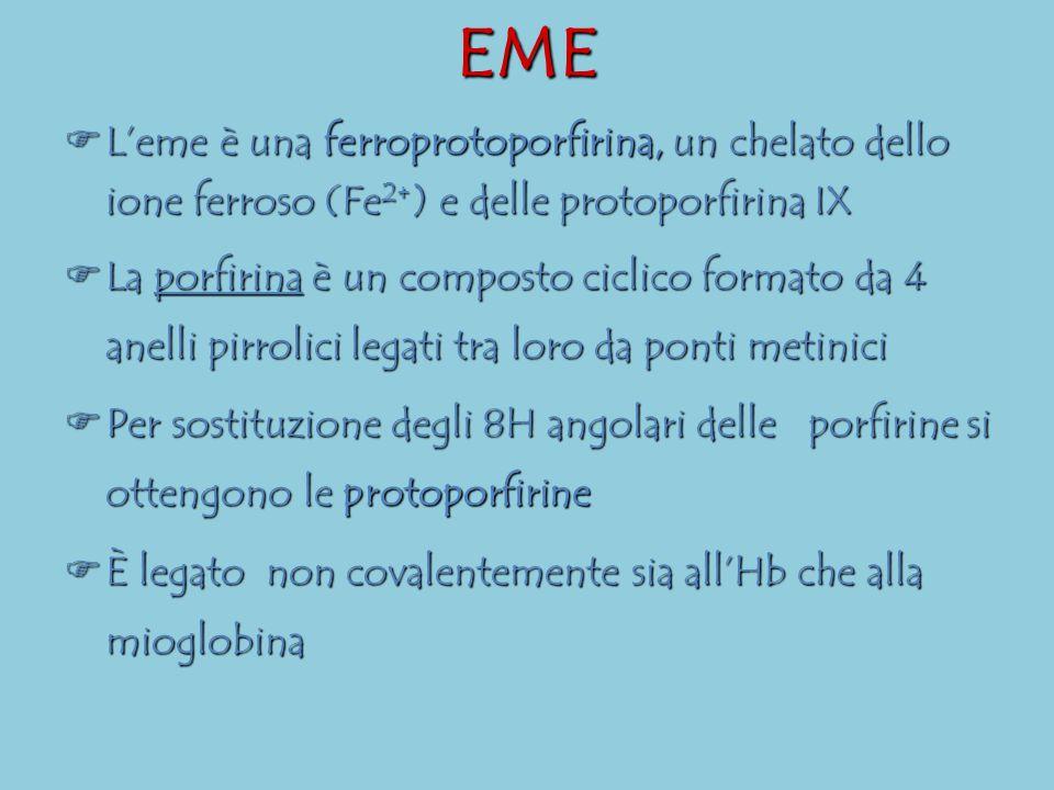 EME  L'eme è una ferroprotoporfirina, un chelato dello ione ferroso (Fe 2+ ) e delle protoporfirina IX  La porfirina è un composto ciclico formato d