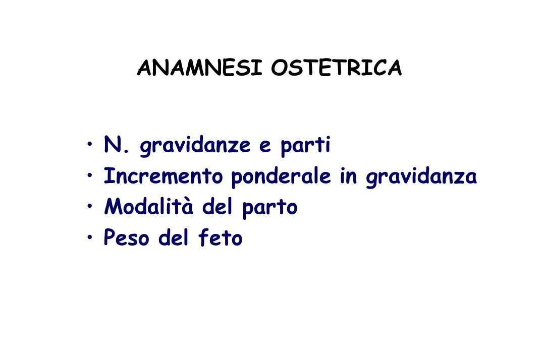ANAMNESI OSTETRICA N.