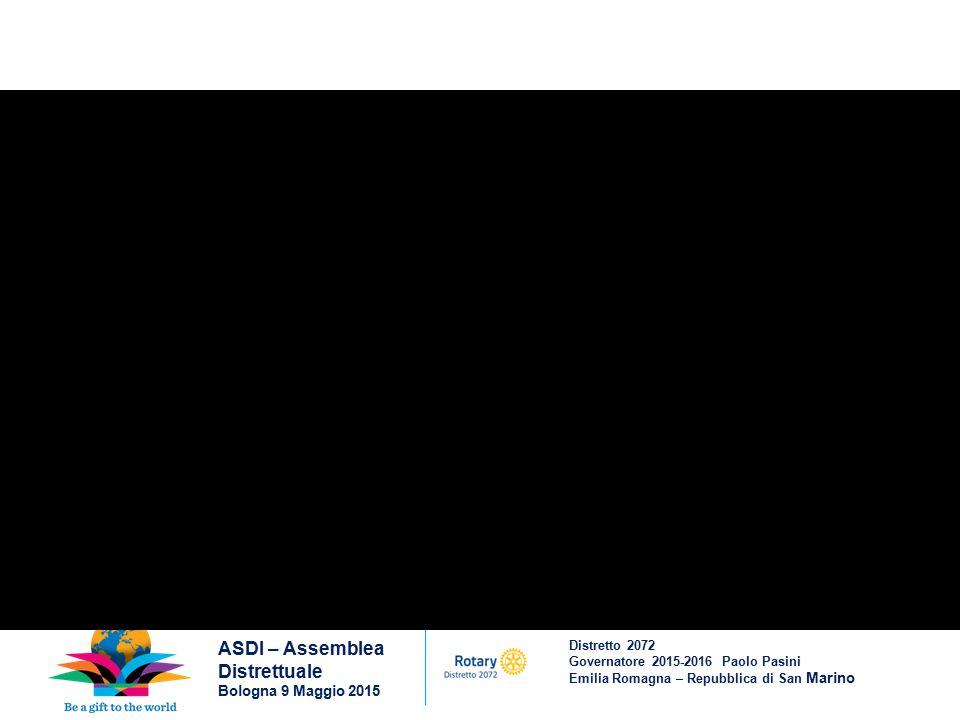 Distretto 2072 Governatore 2015-2016 Paolo Pasini Emilia Romagna – Repubblica di San Marino ASDI – Assemblea Distrettuale Bologna 9 Maggio 2015 Anche per questo VALORE e per il valore di CREDERE che insieme possiamo MIGLIORARE il mondo, credo fermamente che sia cosa buona andare al nostro Congresso di Seoul (il 28 maggio – 1 giugno 2016)