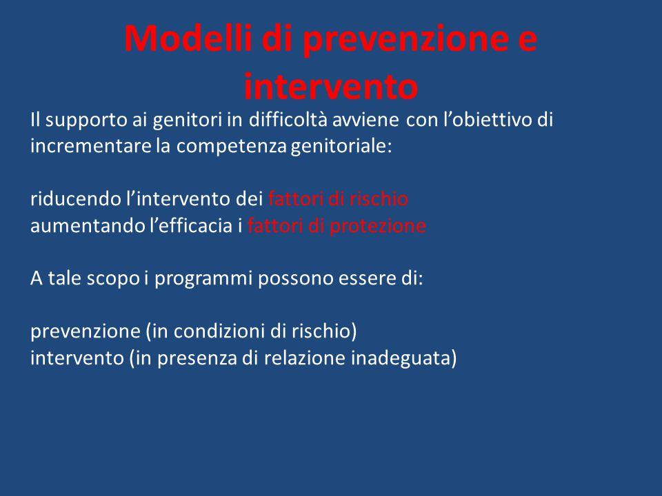 Modelli di prevenzione e intervento Il supporto ai genitori in difficoltà avviene con l'obiettivo di incrementare la competenza genitoriale: riducendo