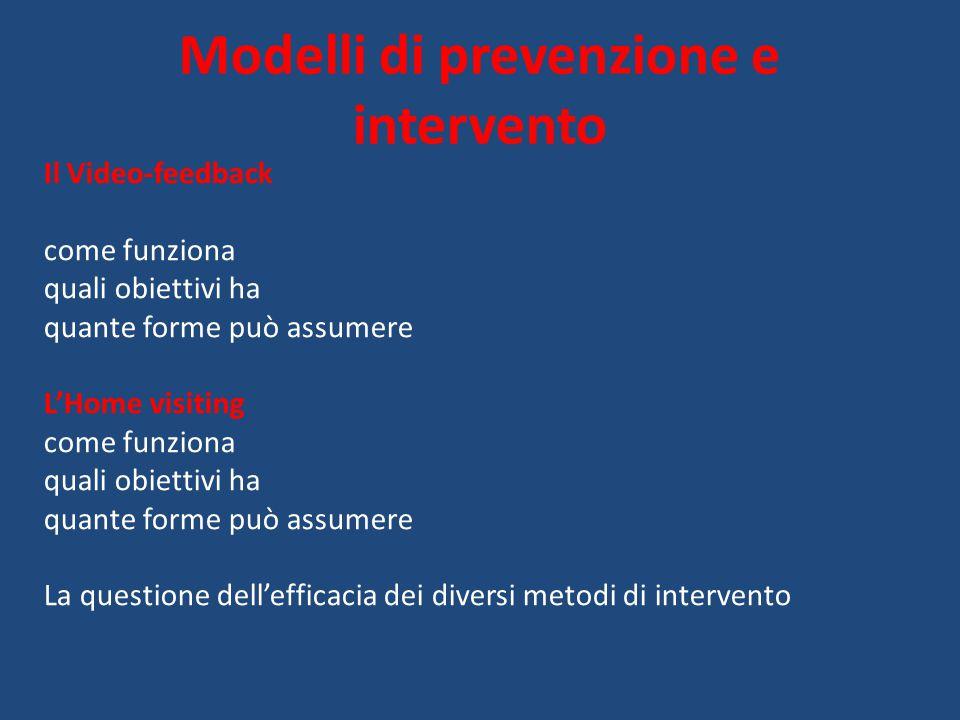 Modelli di prevenzione e intervento Il Video-feedback come funziona quali obiettivi ha quante forme può assumere L'Home visiting come funziona quali o