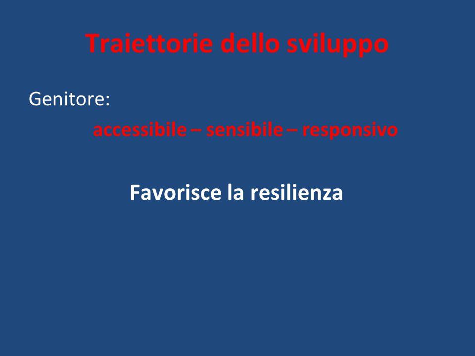 Traiettorie dello sviluppo Genitore: accessibile – sensibile – responsivo Favorisce la resilienza