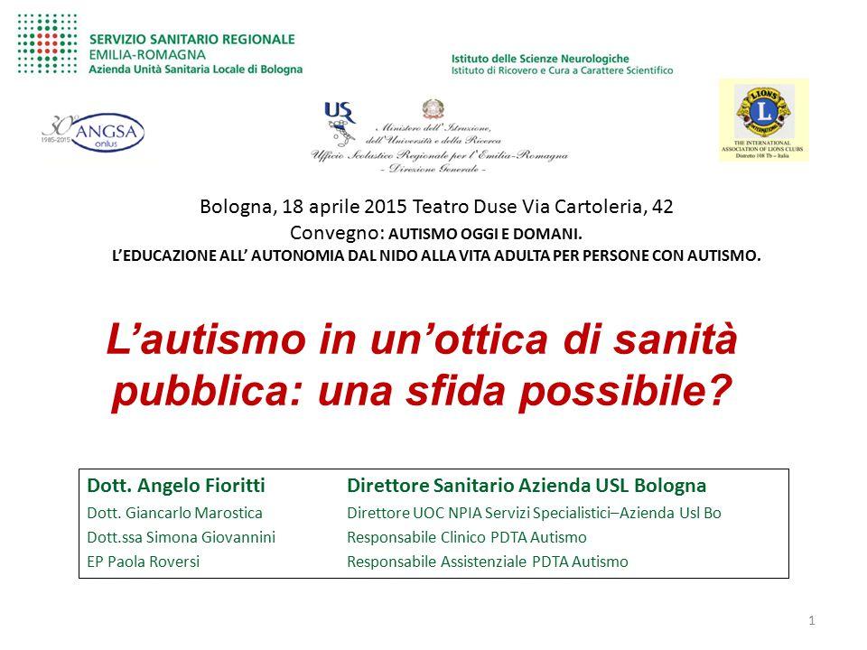 Dott. Angelo Fioritti Direttore Sanitario Azienda USL Bologna Dott. Giancarlo Marostica Direttore UOC NPIA Servizi Specialistici–Azienda Usl Bo Dott.s