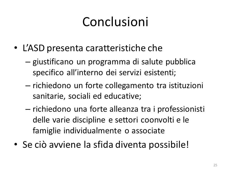 Conclusioni L'ASD presenta caratteristiche che – giustificano un programma di salute pubblica specifico all'interno dei servizi esistenti; – richiedon