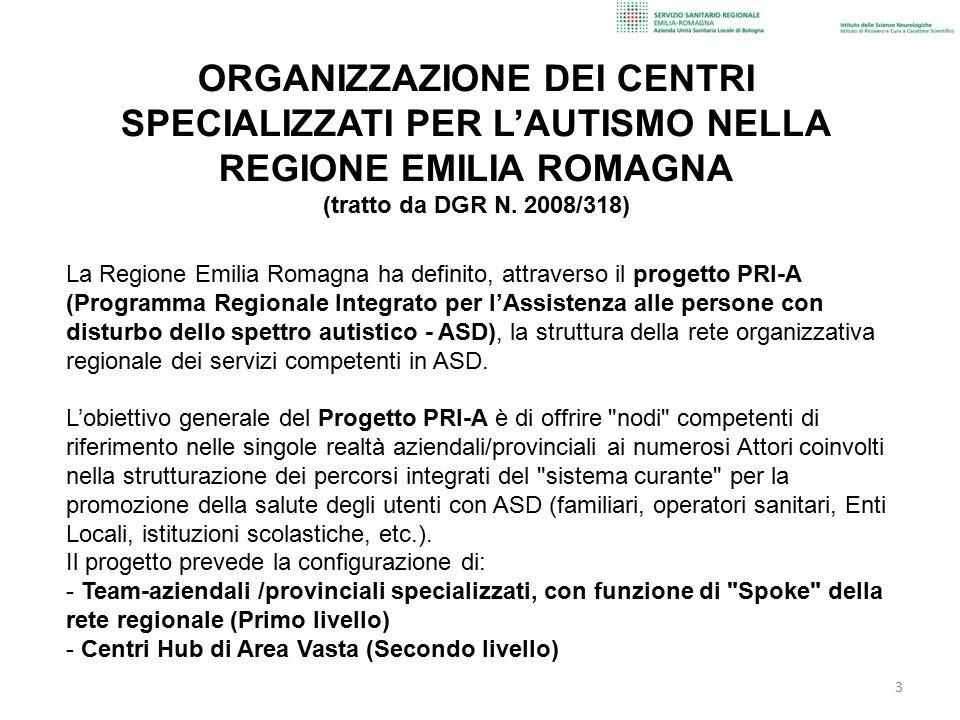 La Regione Emilia Romagna ha definito, attraverso il progetto PRI-A (Programma Regionale Integrato per l'Assistenza alle persone con disturbo dello sp