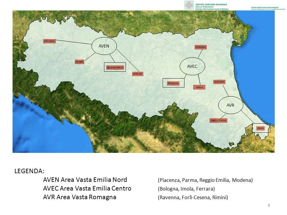 4 IMOLA AVEN AVEC AVR LEGENDA: AVEN Area Vasta Emilia Nord (Piacenza, Parma, Reggio Emilia, Modena) AVEC Area Vasta Emilia Centro (Bologna, Imola, Fer