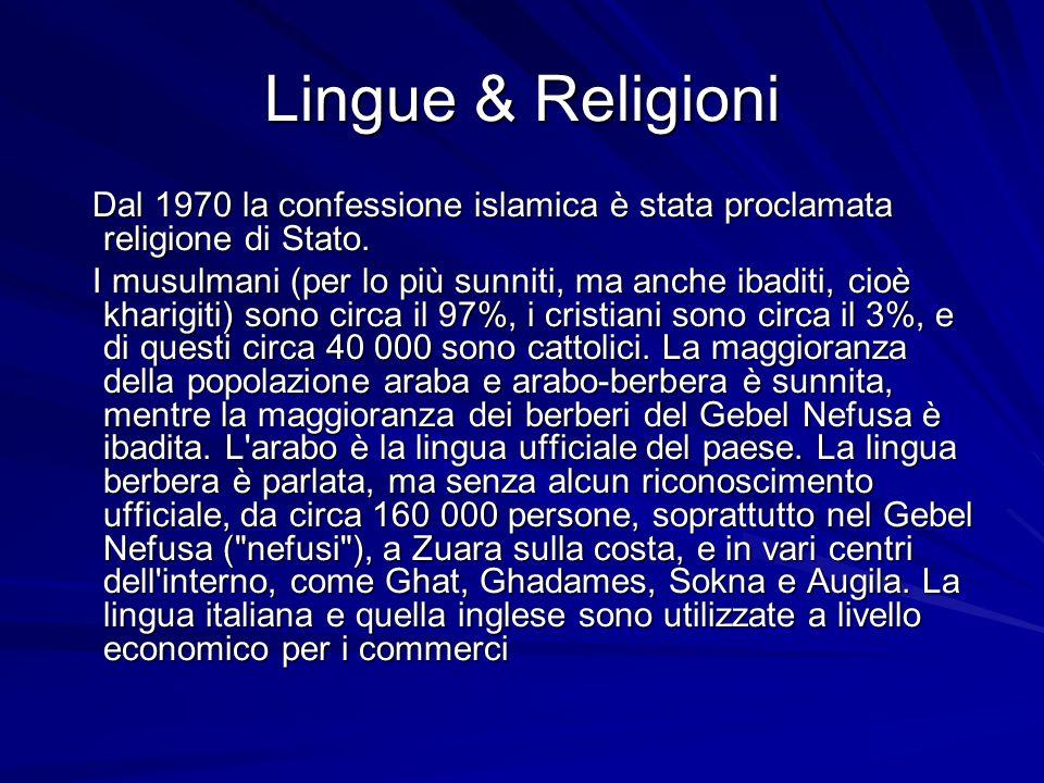 Lingue & Religioni Dal 1970 la confessione islamica è stata proclamata religione di Stato. Dal 1970 la confessione islamica è stata proclamata religio