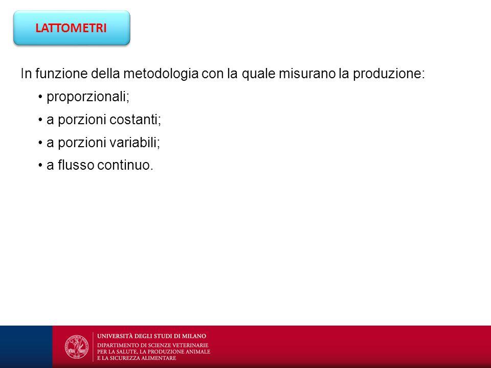 LATTOMETRI In funzione della metodologia con la quale misurano la produzione: proporzionali; a porzioni costanti; a porzioni variabili; a flusso conti