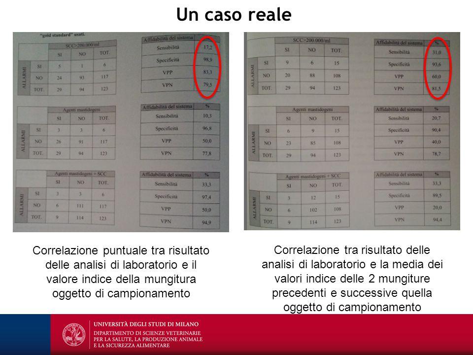 Un caso reale Correlazione puntuale tra risultato delle analisi di laboratorio e il valore indice della mungitura oggetto di campionamento Correlazion