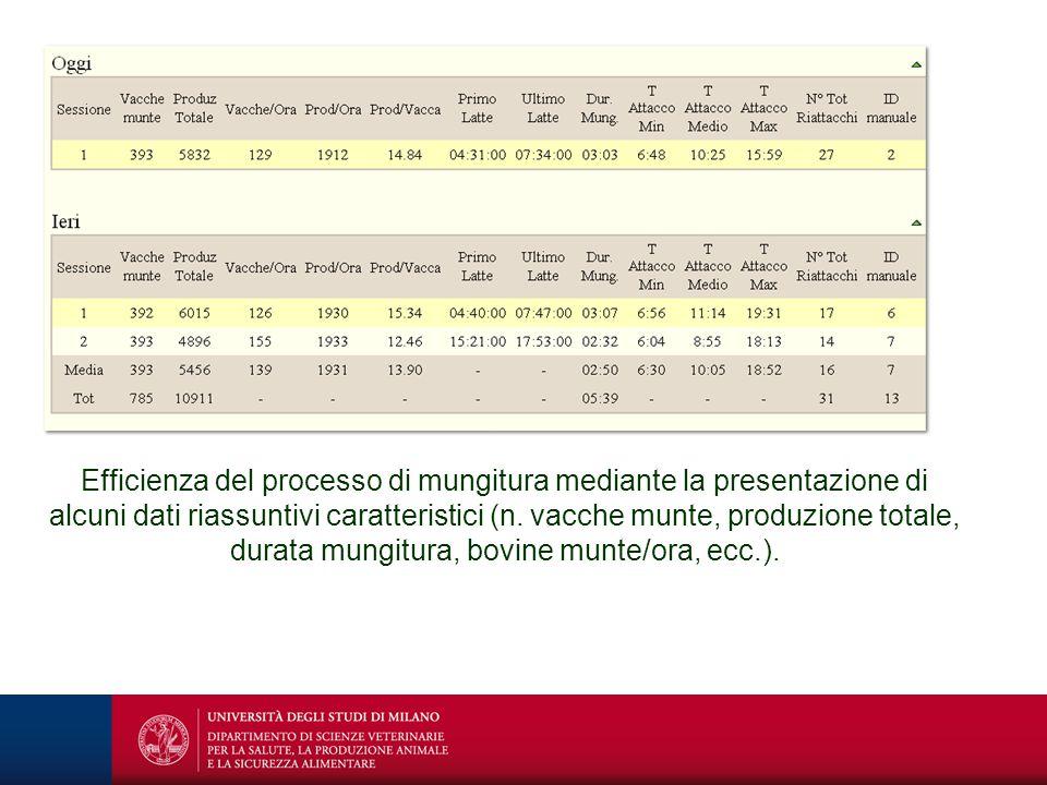 Efficienza del processo di mungitura mediante la presentazione di alcuni dati riassuntivi caratteristici (n. vacche munte, produzione totale, durata m