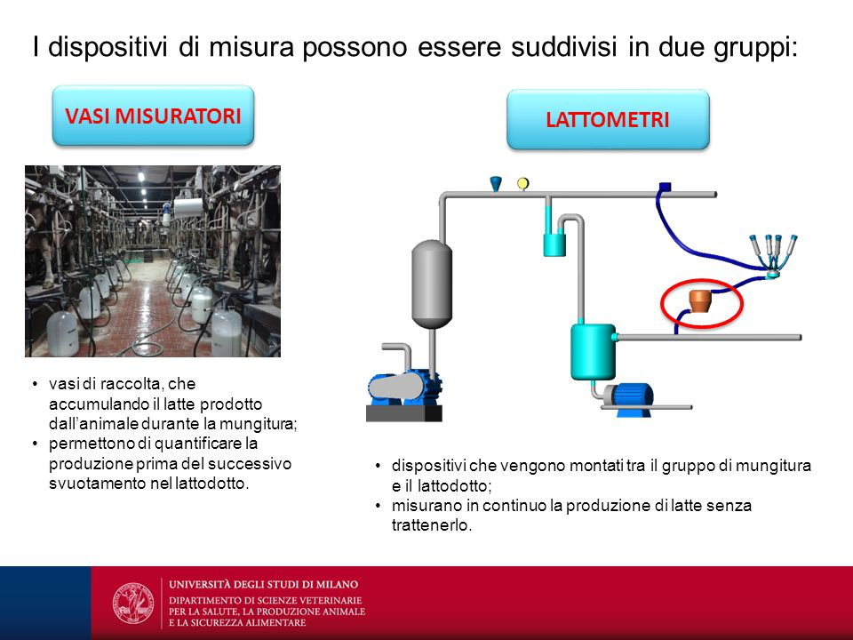 I dispositivi di misura possono essere suddivisi in due gruppi: VASI MISURATORI vasi di raccolta, che accumulando il latte prodotto dall'animale duran