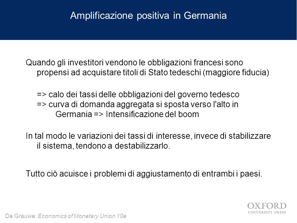 De Grauwe: Economics of Monetary Union 10e Amplificazione positiva in Germania Quando gli investitori vendono le obbligazioni francesi sono propensi a
