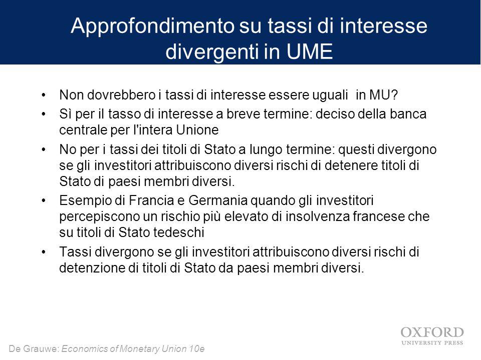 De Grauwe: Economics of Monetary Union 10e Approfondimento su tassi di interesse divergenti in UME Non dovrebbero i tassi di interesse essere uguali i