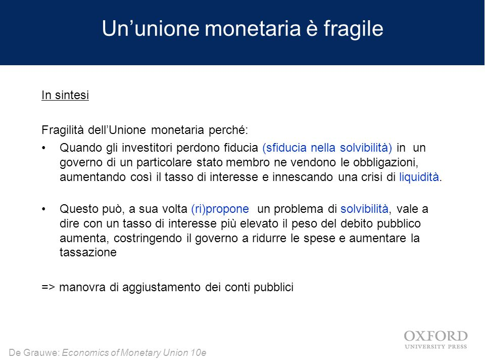 De Grauwe: Economics of Monetary Union 10e Un'unione monetaria è fragile In sintesi Fragilità dell'Unione monetaria perché: Quando gli investitori per