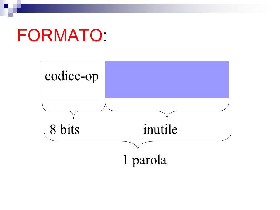 FORMATO: codice-op 8 bits inutile 1 parola