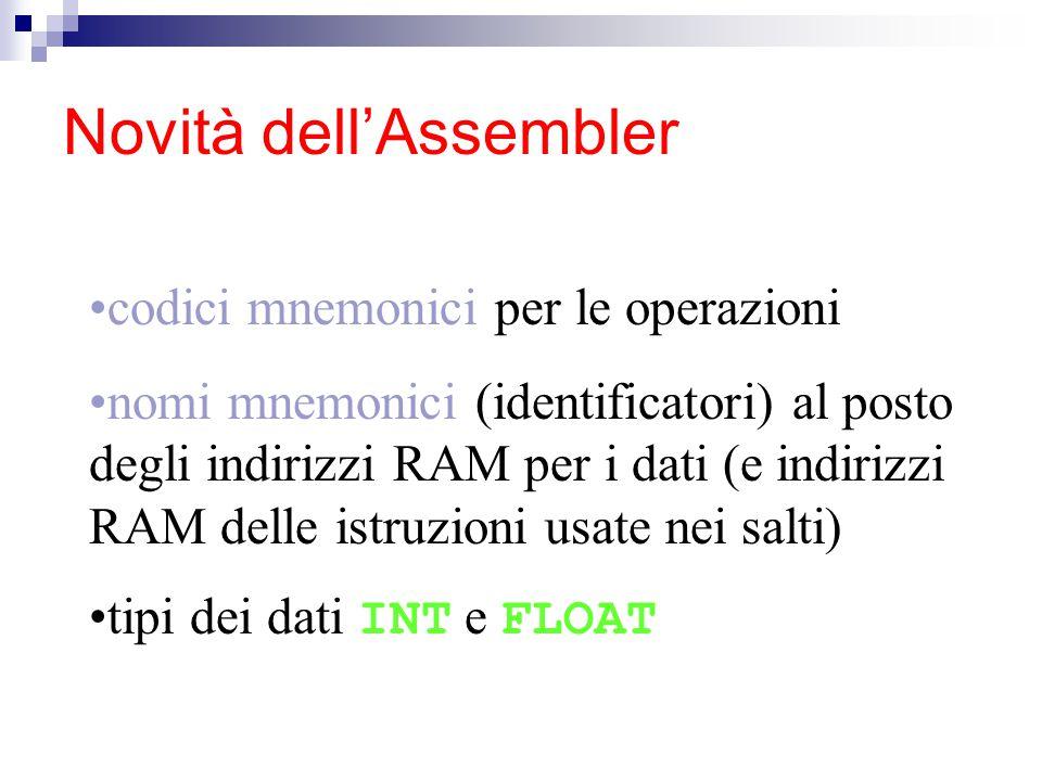 Novità dell'Assembler codici mnemonici per le operazioni nomi mnemonici (identificatori) al posto degli indirizzi RAM per i dati (e indirizzi RAM delle istruzioni usate nei salti) tipi dei dati INT e FLOAT