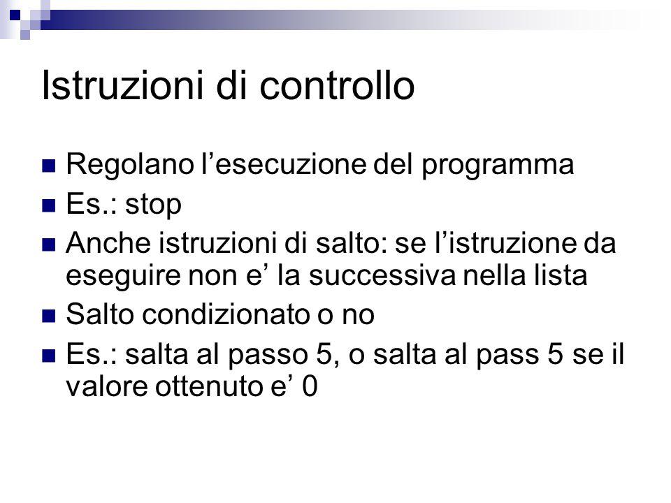 Istruzioni di controllo Regolano l'esecuzione del programma Es.: stop Anche istruzioni di salto: se l'istruzione da eseguire non e' la successiva nella lista Salto condizionato o no Es.: salta al passo 5, o salta al pass 5 se il valore ottenuto e' 0